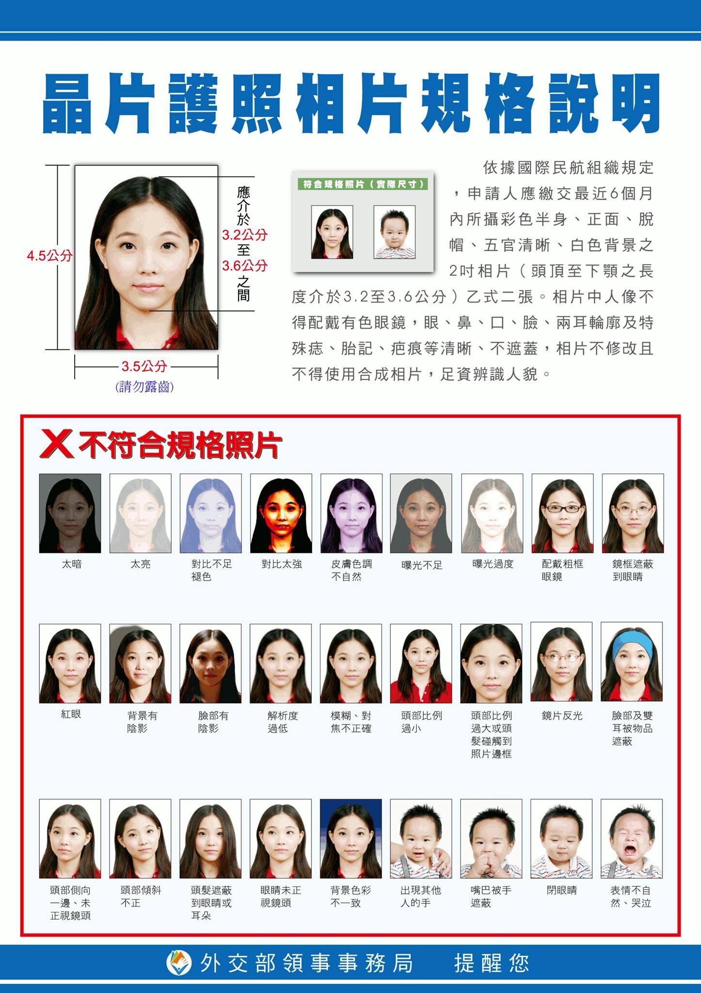 中華民國晶片護照照片規格說明